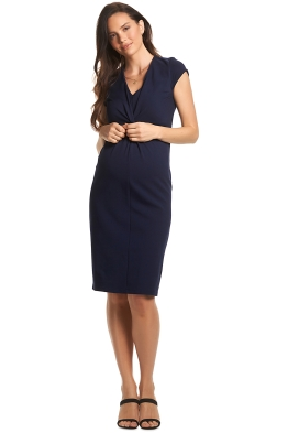 Soon-Maternity-Charlotte-Twist-Dress-Navy-Front