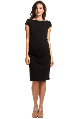 Soon-Maternity-Leo-Cap-Sleeve-Dress-Black-Front
