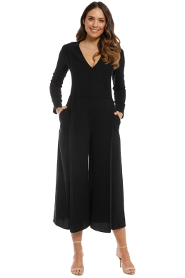 T By Alexander Wang - Cropped Jumpsuit - Black - Front