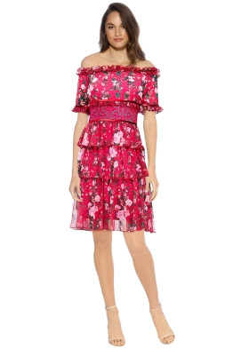 Tadashi Shoji - Bonet Off The Shoulder Dress - Front - Floral Pink