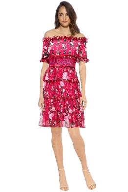 Tadashi Shoji - Bonet Off The Shoulder Dress - Front - Floral Pink