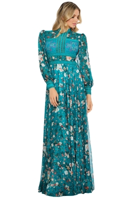 Tadashi Shoji - Duverny Gown - Front - Floral Teal