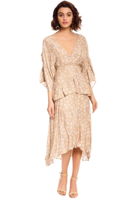 Talulah - Charismatic Woman Midi Dress - Nude Floral - Front