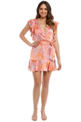 Talulah - Clemence Mini Dress - Coral Vintage Floral - Front