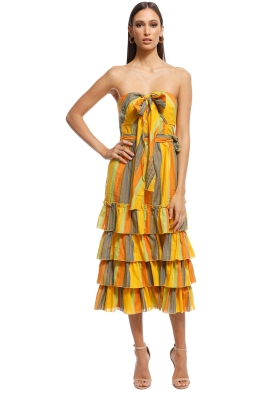 Talulah - Imperial Midi Dress - Yellow Stripes - Front