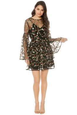 Talulah - Objective Flare Mini Dress - Black Floral - Front