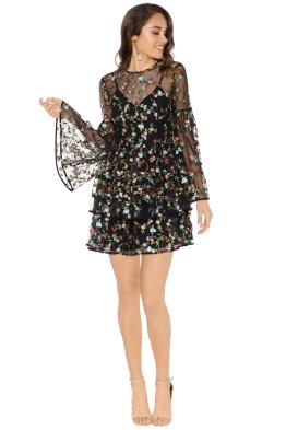 Talulah - Ojective Flare Mini Dress - Black Floral - Front