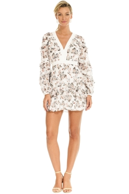 Talulah - Reminisce LS Mini Dress - White Print - Front