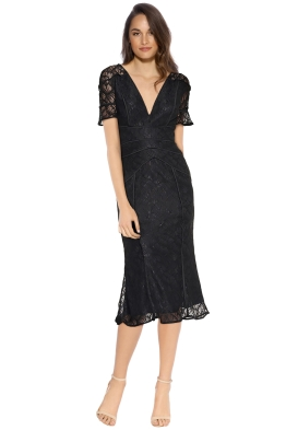 Talulah - Rococo Lace Midi Dress - Black - Front