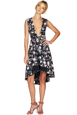 Talulah - The Lottie Floral Midi Dress - Black Floral - Front