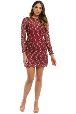 Talulah - The Passion LS Mini Dress - Mulberry Gold - Front