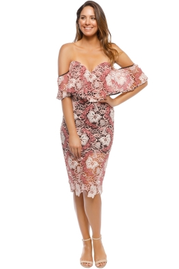 Talulah - The Passion Off Shoulder Midi Dress - Pink Black - Front