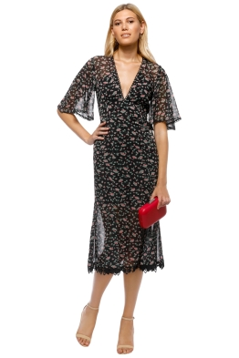 Talulah - Unwavering Glamour Midi Dress - Black Floral - Front