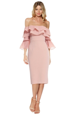 Talulah - Walk On By Off Shoulder Midi Dress - Pink - Front