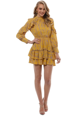Talulah - In The Mix Mini Dress - Mustard Floral - Front
