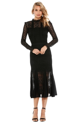Temperley London - Desdemona Long Sleeved Lace Midi Dress - Front