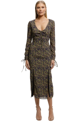 The East Order-Mags LS Midi Dress-Yellow Floral-Front
