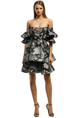 Thurley-Oriental Chintz Jacquard Mini Dress-Multi-Front