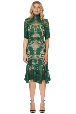 Thurley - Babylon Lace Dress - Emerald - Front