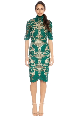 Thurley - Babylon Pencil Lace Dress - Emerald - Front