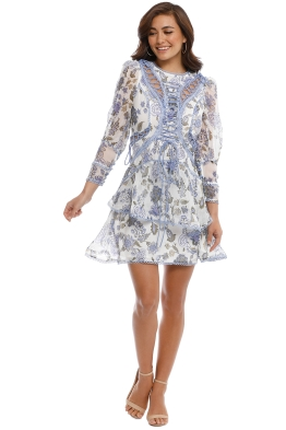 Thurley - Bluebell Print Mini Dress - Cornflower - Front