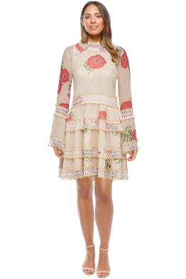 Thurley - Daisy Chain Mini Dress - Nude Floral - Front
