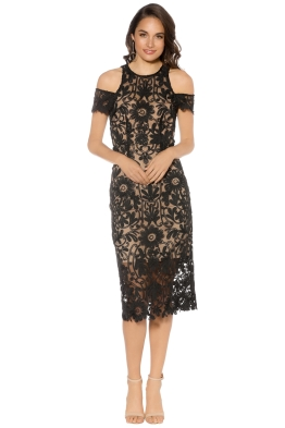 Thurley - Eden Midi Dress - Black Nude - Front