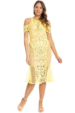 Thurley - Enchanted Garden Midi Dress - Yellow - Front