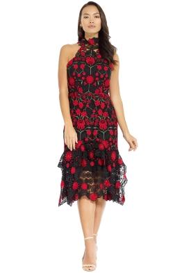 Thurley - English Rose Midi Dress - Black Multi - Front