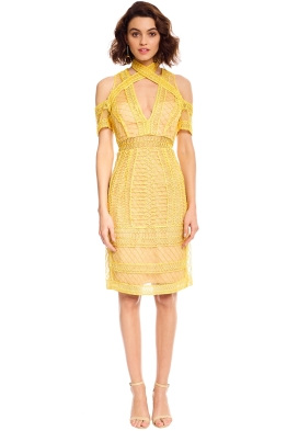 Thurley - Maze Midi Dress - Yellow - Front
