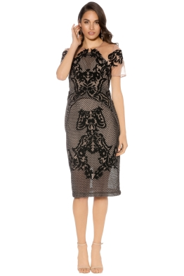 Thurley - Rosetta Stone Dress - Black Nude - Front