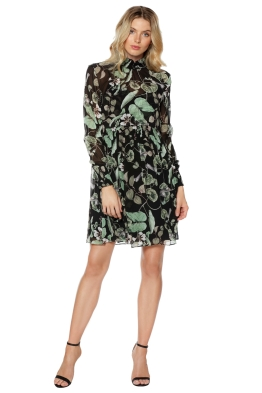 Thurley - Snap Dragon Print Dress - Green Floral - Front