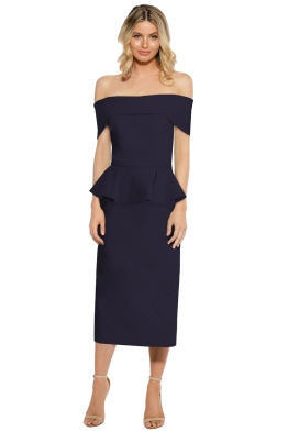 Tinaholy - Navy Off Shoulder Peplum Dress - Navy - Front