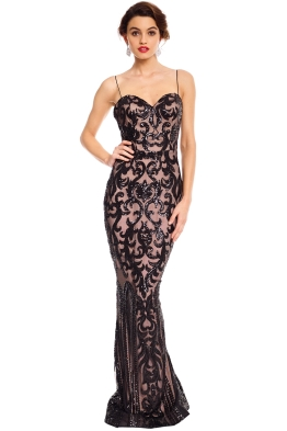 Tinaholy - Odessa Sequin Gown - Black Nude - Front