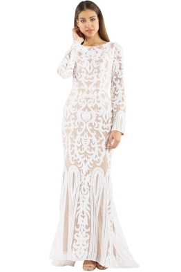 Tinaholy - Scoop Long Sleeve Gown - White Nude - Front