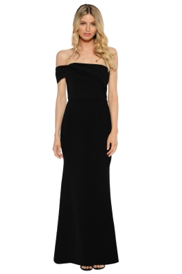 Unspoken - Aster One Shoulder Long Dress - Black - Front