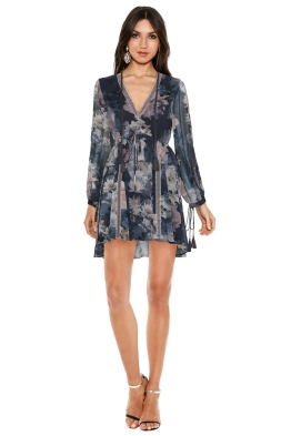 We Are Kindred - Alanah Frill Dress In Water Lily - Floral Blue - Front