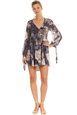 We Are Kindred - Alanah Frill Dress in Water Lily - Navy - Front