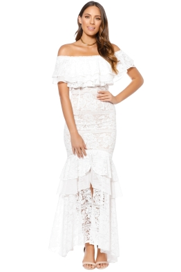 We Are Kindred - Gisella Lace Off Shoulder Dress - White - Front