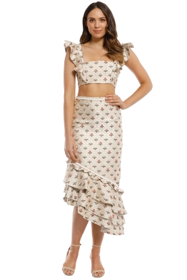We Are Kindred - Issy Bralet Asymmetric Skirt and Top - Cream Print - Front