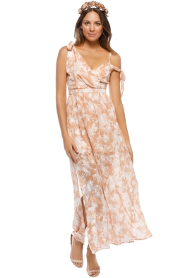 We Are Kindred - Jonquil Asymmetric Dress - Orange Print - Front