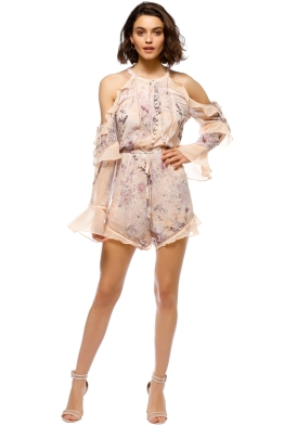 We Are Kindred - Paloma Cold Shoulder Romper - Beige Floral - Front