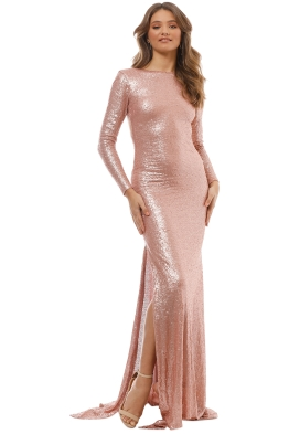 When Freddie Met Lilly - Anastasia Sequin LS Gown - Blush - Front