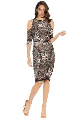 Winona - Grimaldi Cold Shoulder Dress - Black Floral - Front