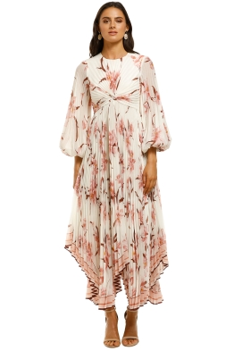 Zimmermann-Corsage-Pleated-Dress-Ivory-Peach-Orchid-Front