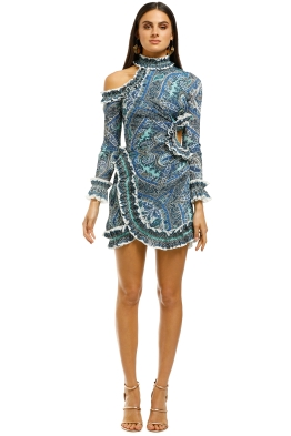 Zimmermann-Moncur-Asymmetric-Mini-Dress-Aqua-Paisley-Front