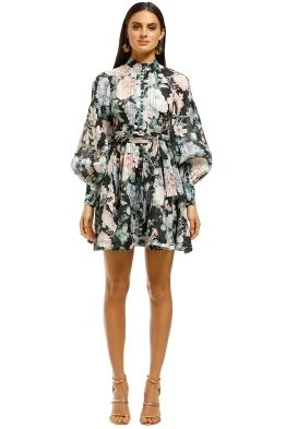 Zimmermann-Verity-Rouleau-Short-Dress-Black-Floral-Front