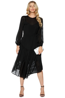 Zimmermann - Lavish Stripe Slouch Dress - Black - Front