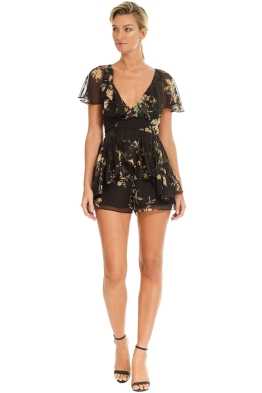 Zimmermann - Maples Wrap Playsuit - Black Floral - Front