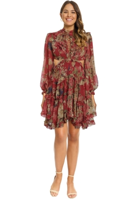Zimmermann - Melody Lace Up Short Dress - Burgundy Floral - Front